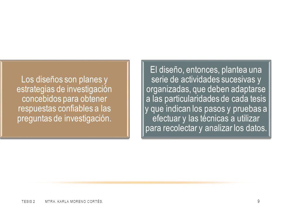 Los diseños son planes y estrategias de investigación concebidos para obtener respuestas confiables a las preguntas de investigación.