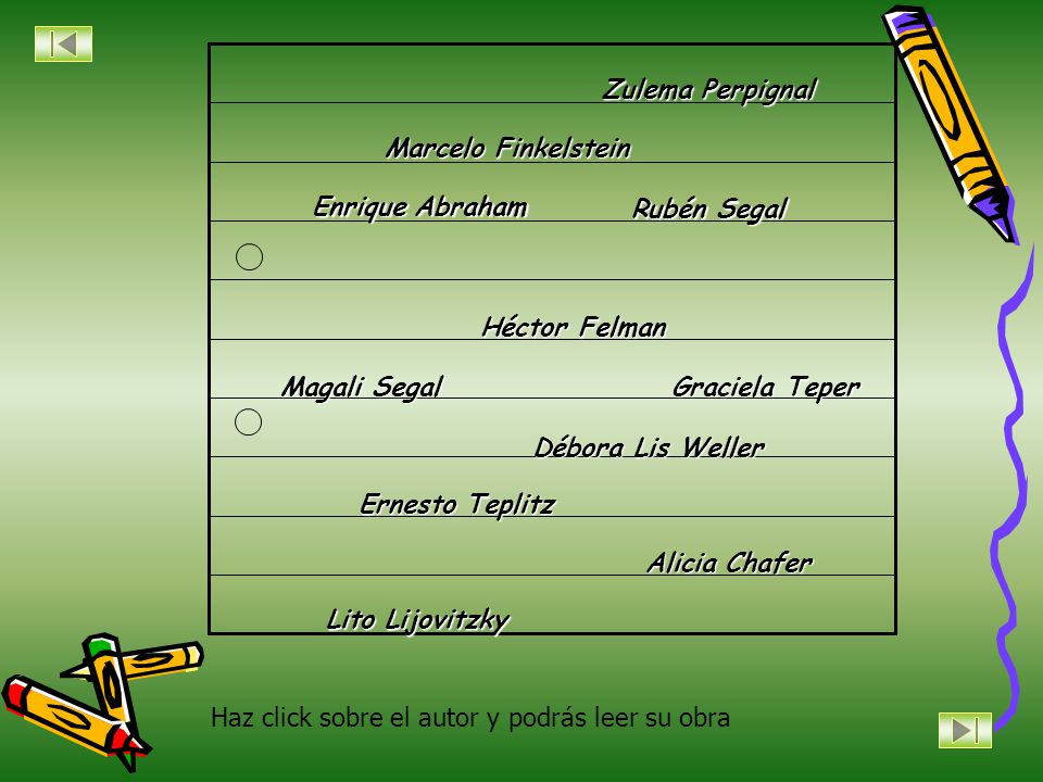 Zulema Perpignal Marcelo Finkelstein. Enrique Abraham. Rubén Segal. Héctor Felman. Magali Segal.