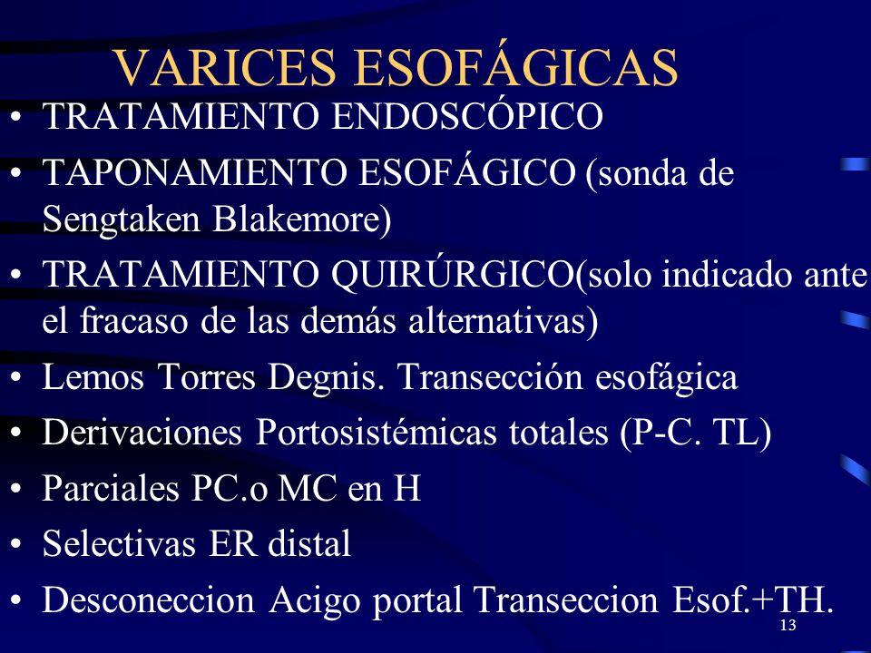 VARICES ESOFÁGICAS TRATAMIENTO ENDOSCÓPICO