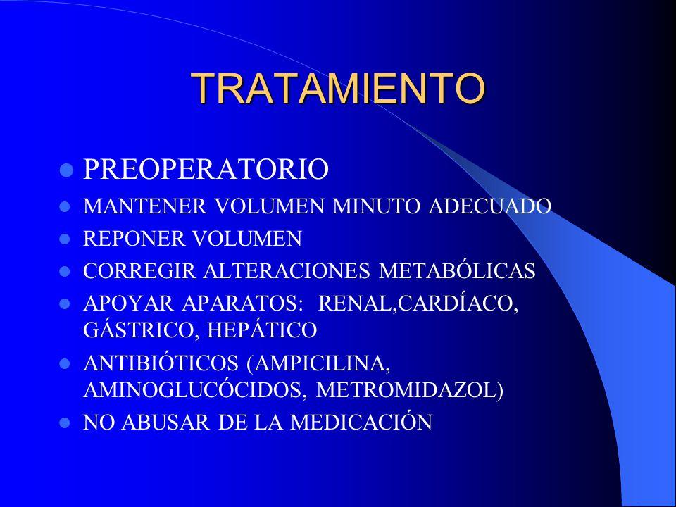 TRATAMIENTO PREOPERATORIO MANTENER VOLUMEN MINUTO ADECUADO