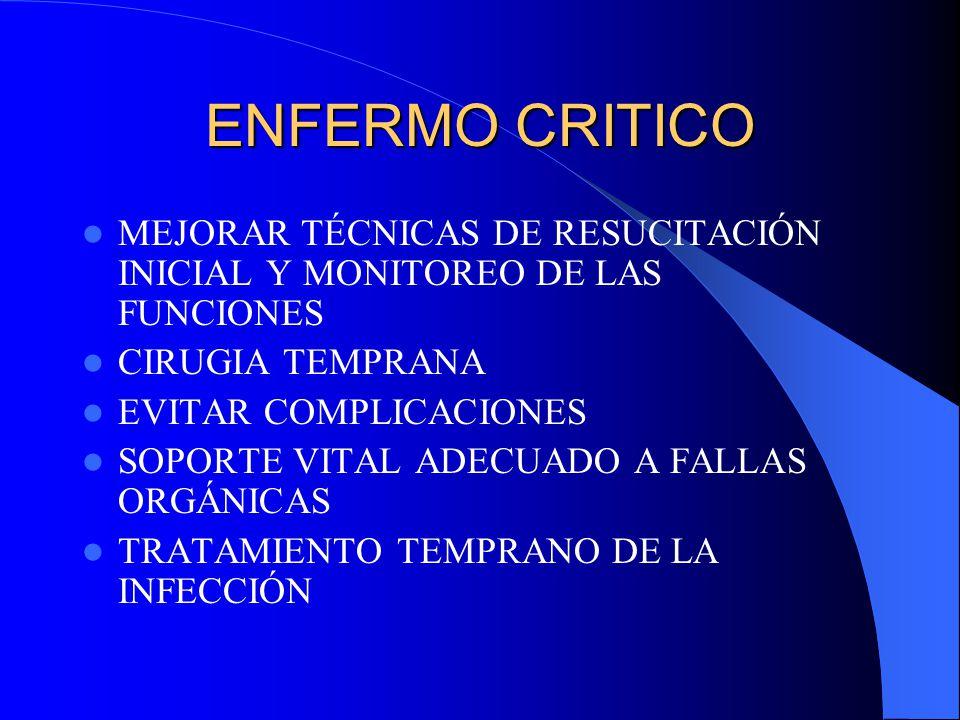 ENFERMO CRITICO MEJORAR TÉCNICAS DE RESUCITACIÓN INICIAL Y MONITOREO DE LAS FUNCIONES. CIRUGIA TEMPRANA.