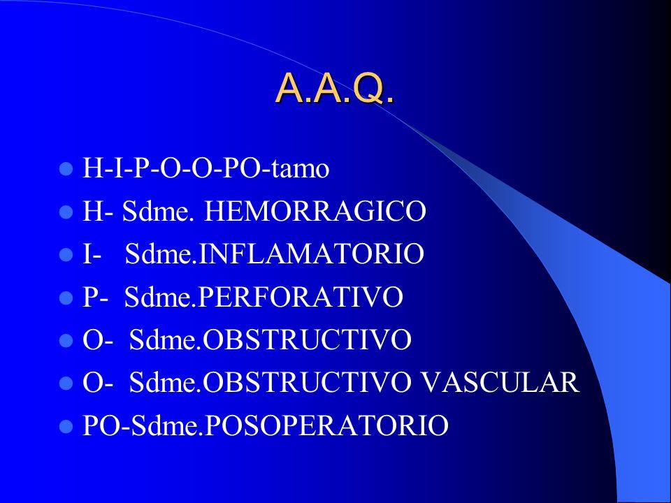 A.A.Q. H-I-P-O-O-PO-tamo H- Sdme. HEMORRAGICO I- Sdme.INFLAMATORIO