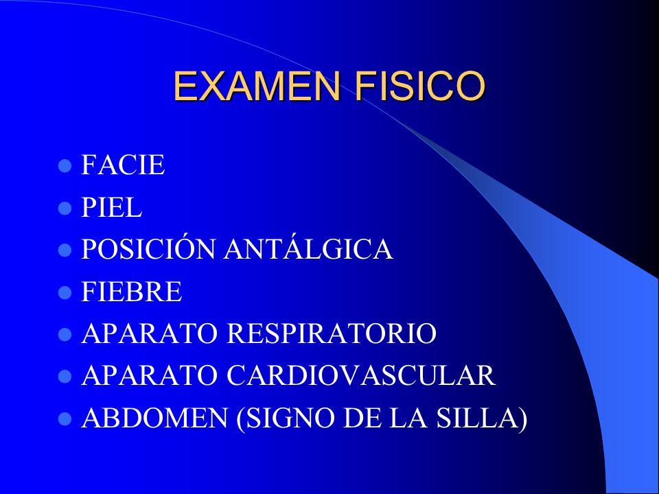 EXAMEN FISICO FACIE PIEL POSICIÓN ANTÁLGICA FIEBRE