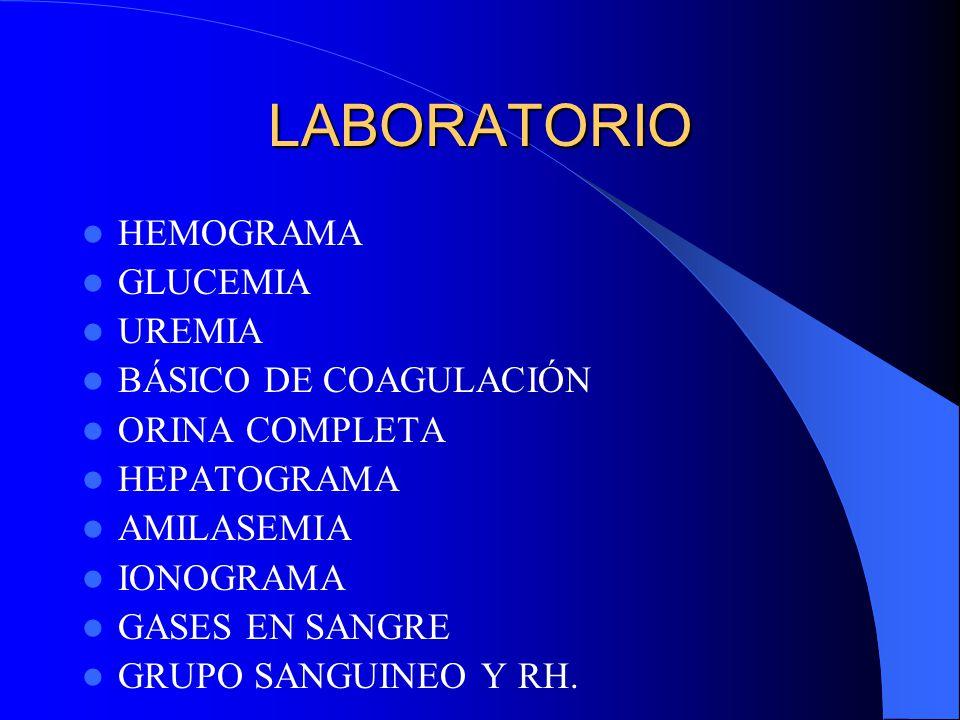 LABORATORIO HEMOGRAMA GLUCEMIA UREMIA BÁSICO DE COAGULACIÓN