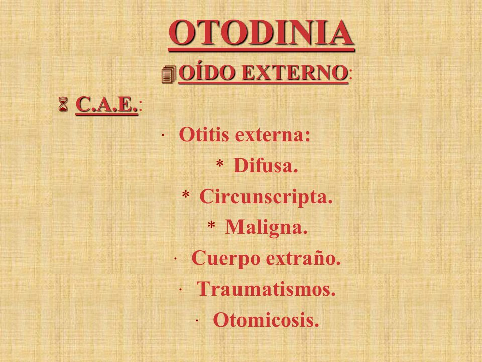 OTODINIA OÍDO EXTERNO: C.A.E.: Otitis externa: Difusa. Circunscripta.