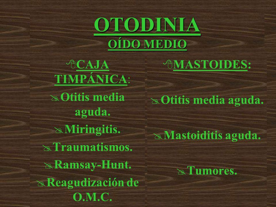 OTODINIA OÍDO MEDIO CAJA TIMPÁNICA: Otitis media aguda. Miringitis.