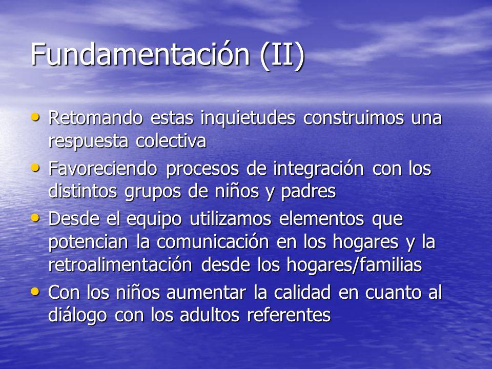 Fundamentación (II) Retomando estas inquietudes construimos una respuesta colectiva.