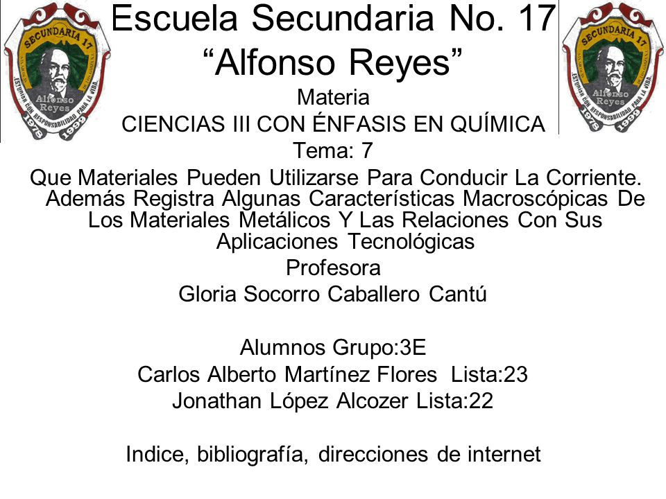 Escuela Secundaria No. 17 Alfonso Reyes Materia