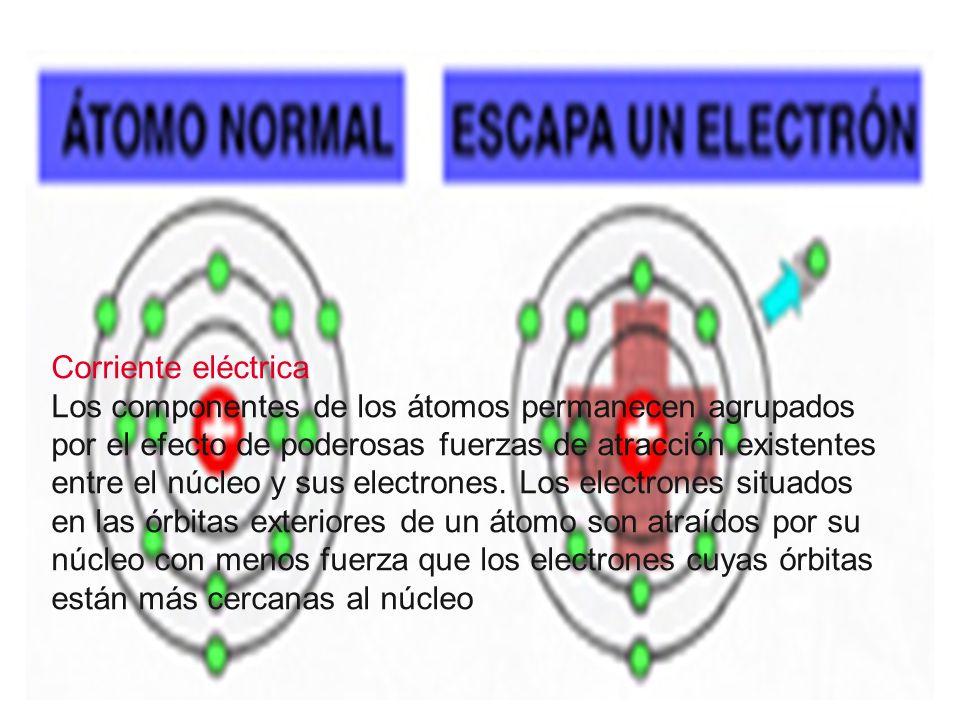 Corriente eléctrica Los componentes de los átomos permanecen agrupados por el efecto de poderosas fuerzas de atracción existentes entre el núcleo y sus electrones.