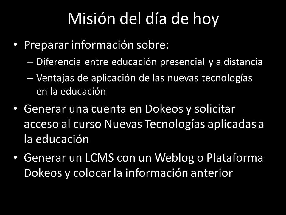 Misión del día de hoy Preparar información sobre: