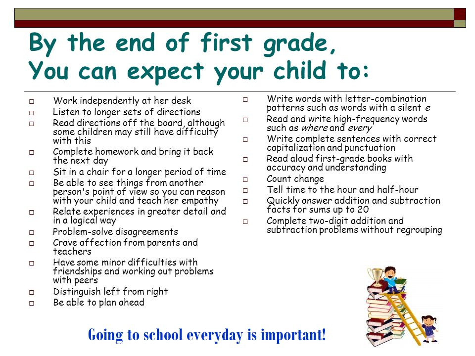 By the end of first grade, You can expect your child to: