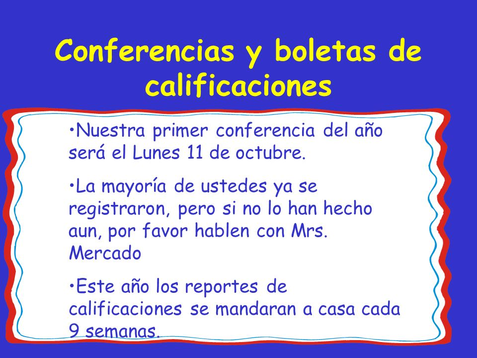 Conferencias y boletas de calificaciones