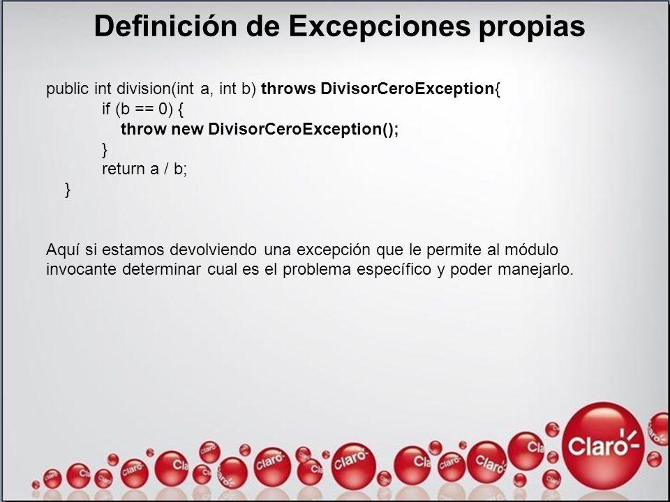 Definición de Excepciones propias