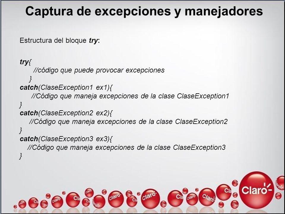 Captura de excepciones y manejadores