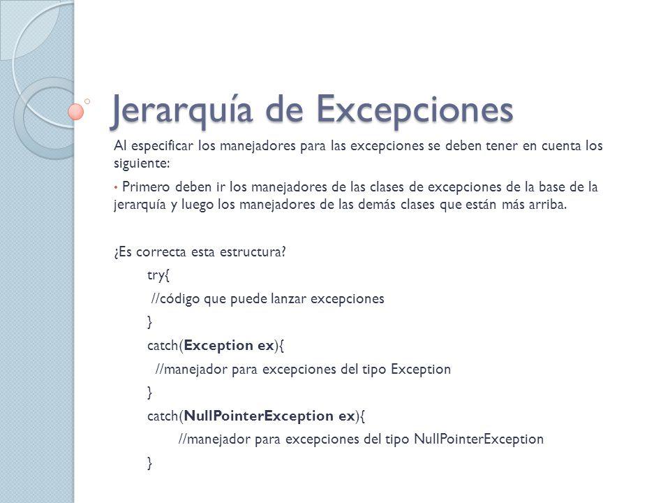 Jerarquía de Excepciones