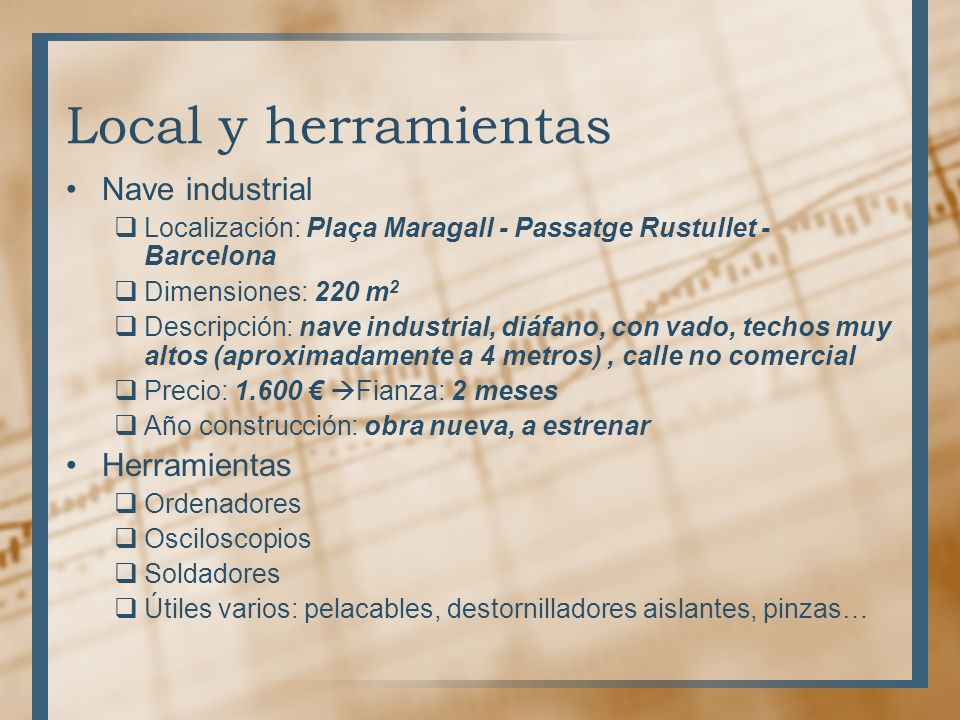 Local y herramientas Nave industrial Herramientas