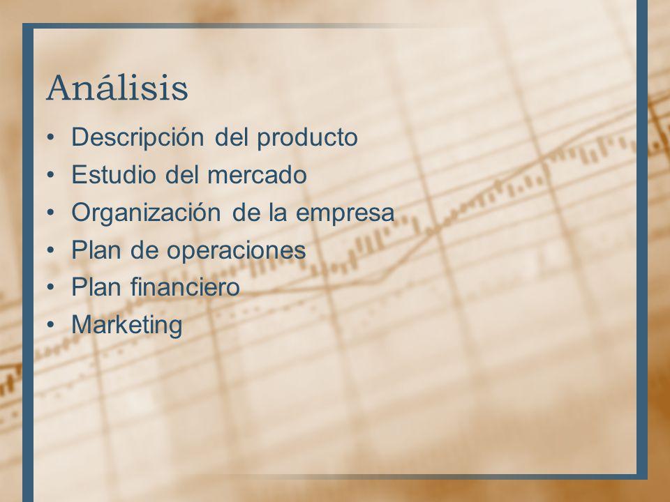 Análisis Descripción del producto Estudio del mercado
