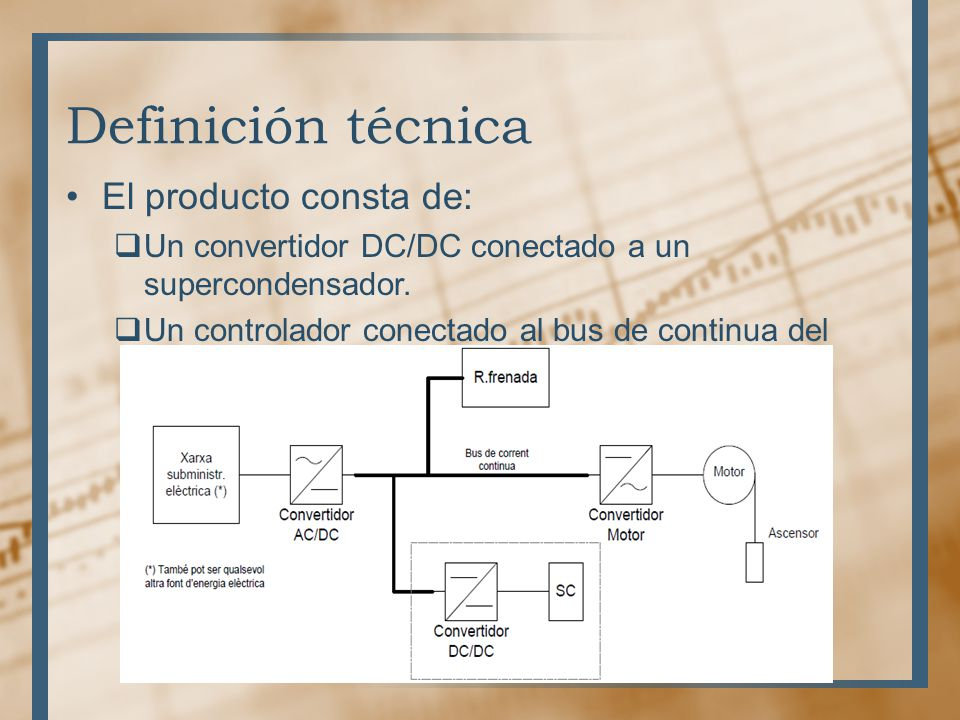 Definición técnica El producto consta de: