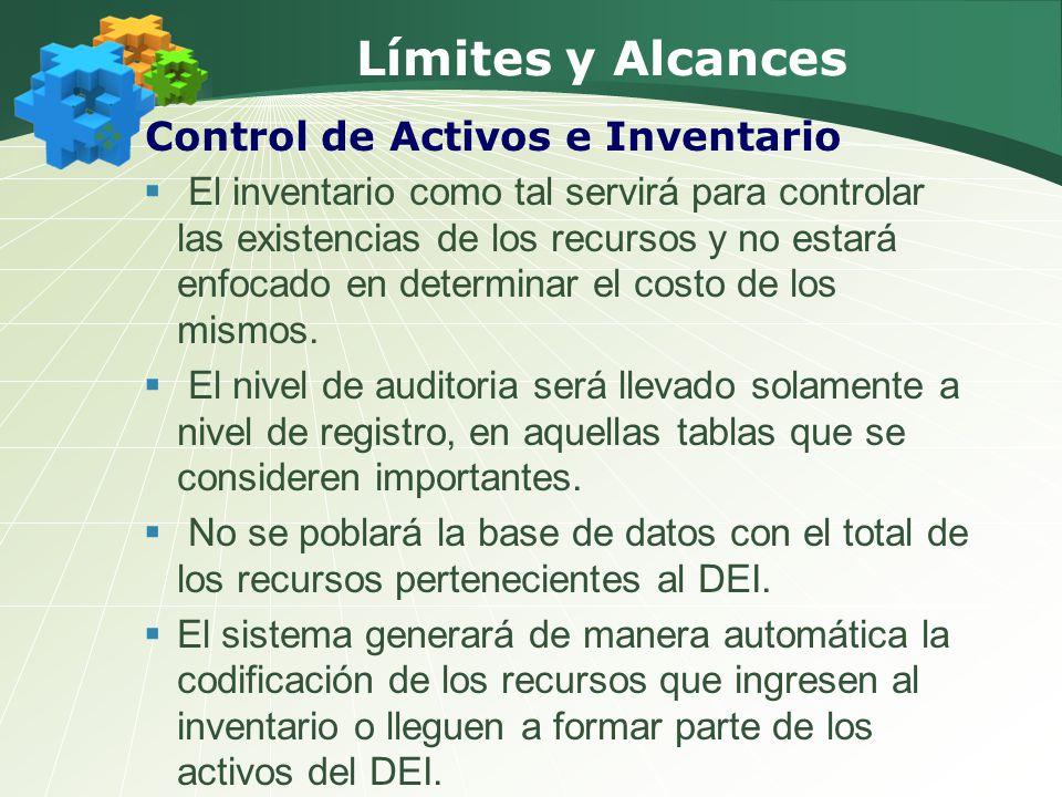 Límites y Alcances Control de Activos e Inventario