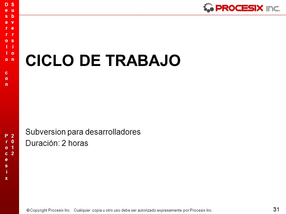 CICLO DE TRABAJO Subversion para desarrolladores Duración: 2 horas