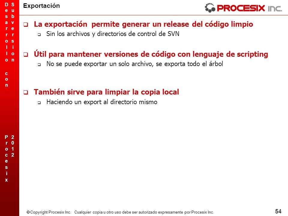 La exportación permite generar un release del código limpio