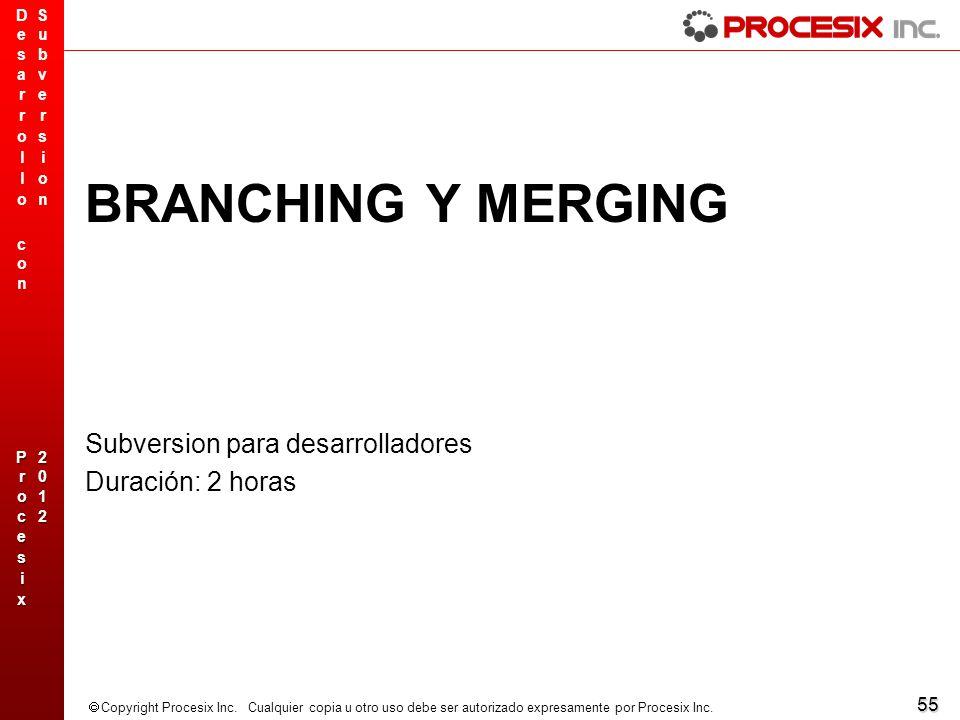 BRANCHING Y MERGING Subversion para desarrolladores Duración: 2 horas