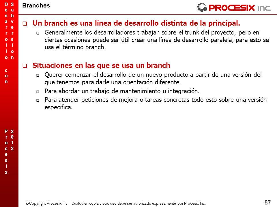 Un branch es una línea de desarrollo distinta de la principal.