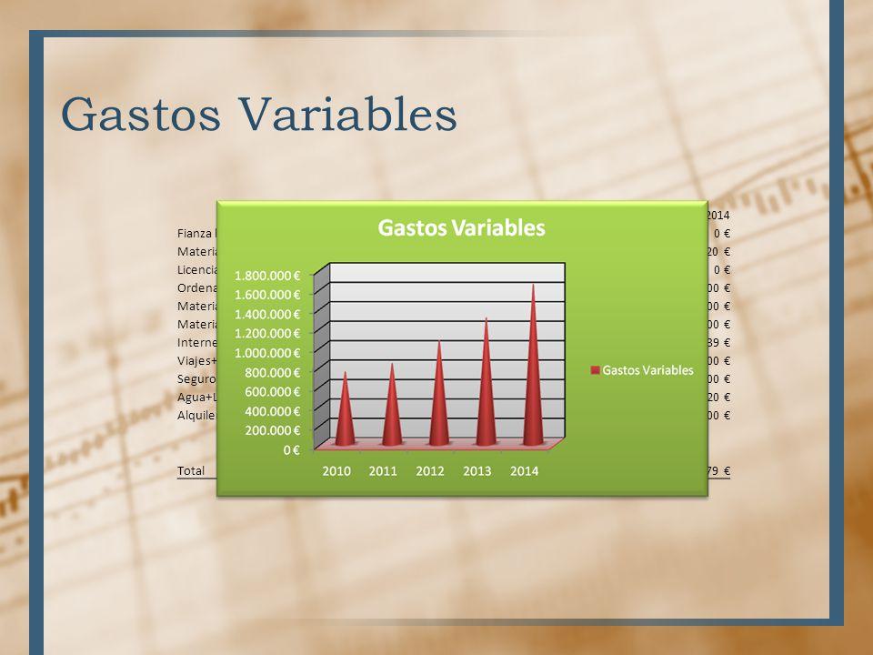 Gastos Variables 2010 2011 2012 2013 2014 Fianza local 3.200 € 0 €
