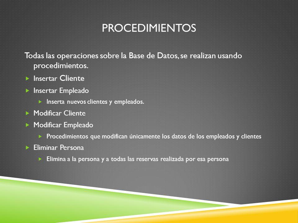 Procedimientos Todas las operaciones sobre la Base de Datos, se realizan usando procedimientos. Insertar Cliente.