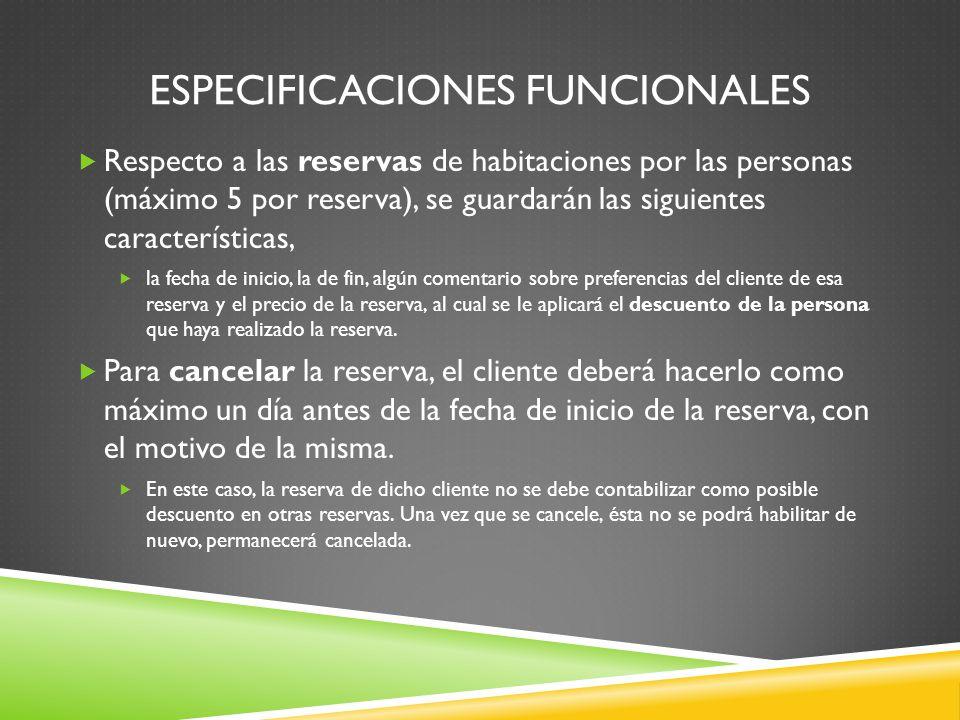 Especificaciones funcionales