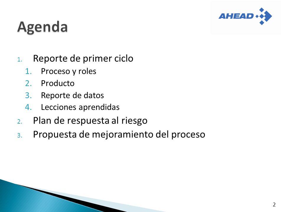 Agenda Reporte de primer ciclo Plan de respuesta al riesgo