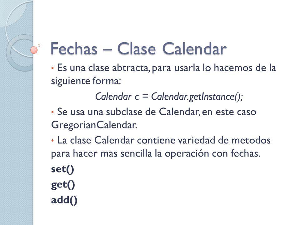 Fechas – Clase Calendar