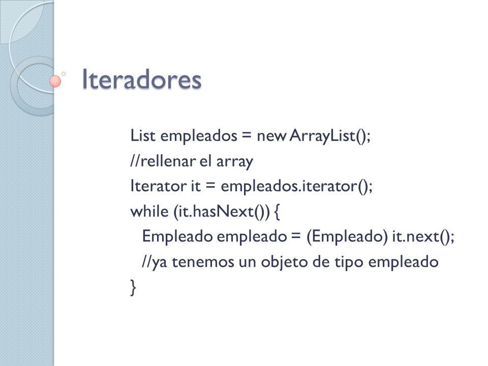 Iteradores List empleados = new ArrayList(); //rellenar el array