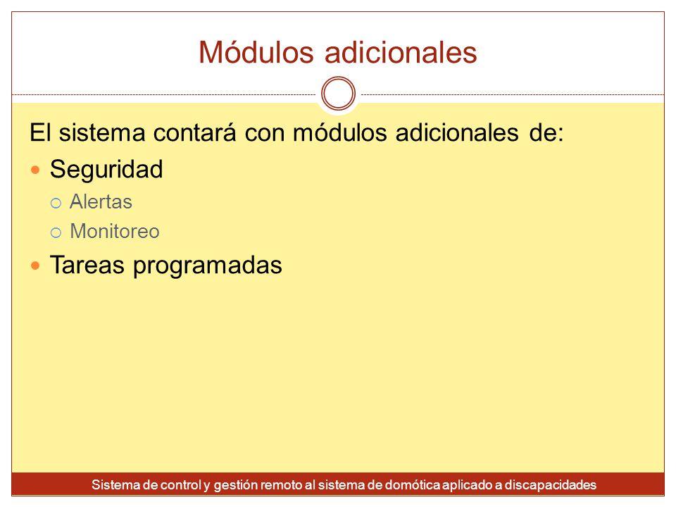 Módulos adicionales El sistema contará con módulos adicionales de: