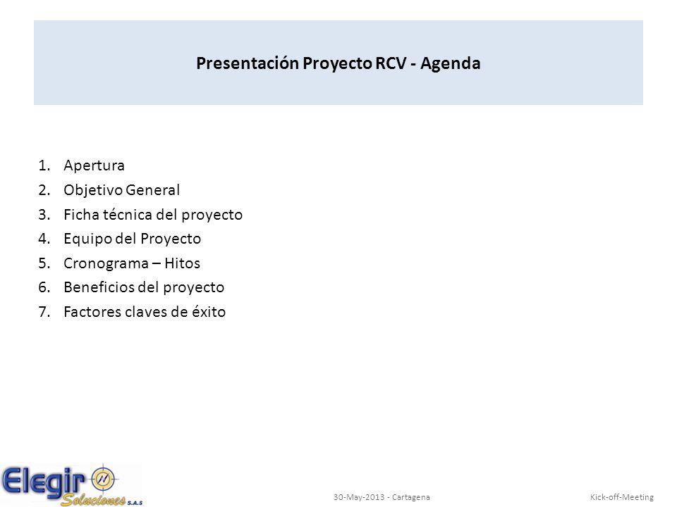 Presentación Proyecto RCV - Agenda
