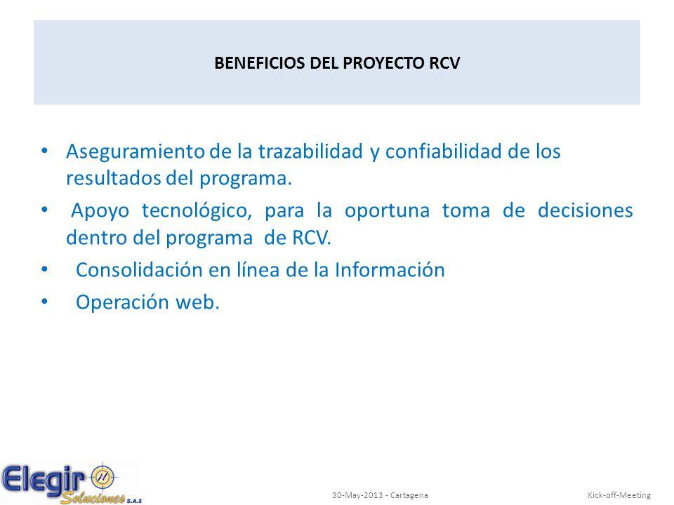 BENEFICIOS DEL PROYECTO RCV