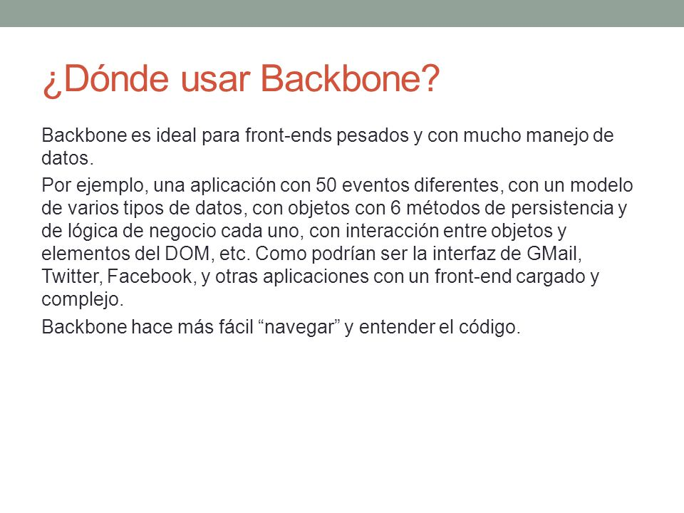 ¿Dónde usar Backbone