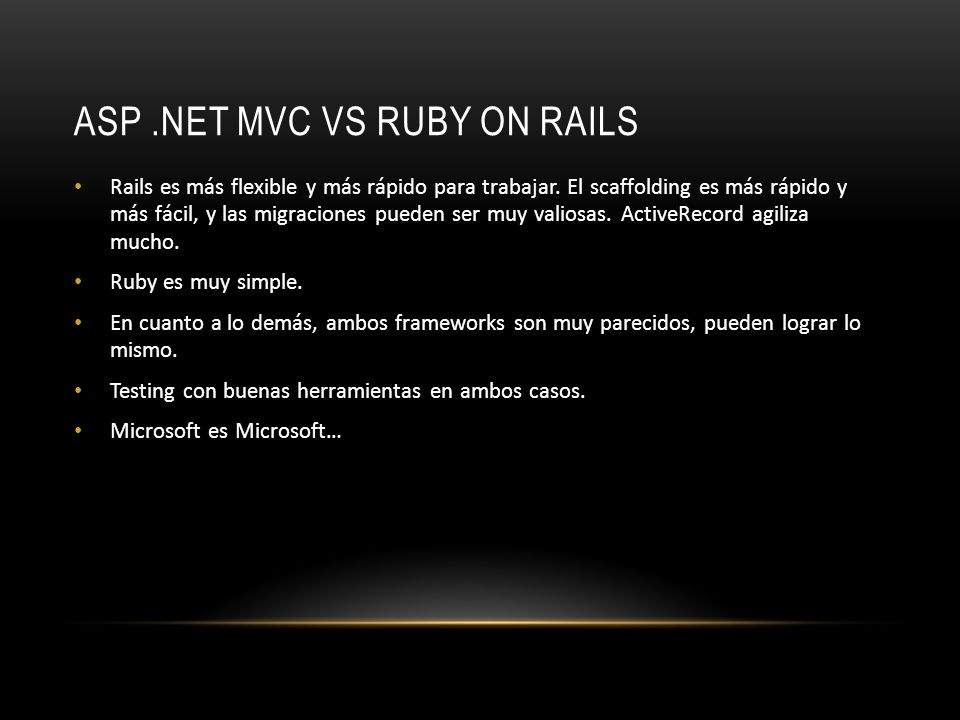ASP .NET MVC vs Ruby on Rails