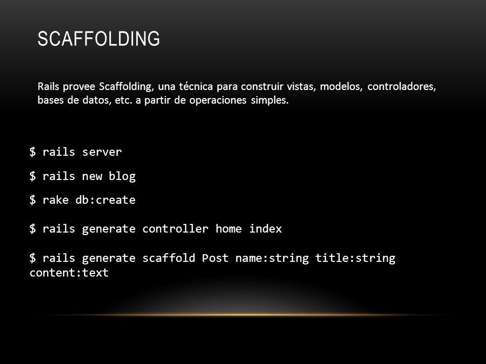 SCAFFOLDING $ rails server $ rails new blog $ rake db:create