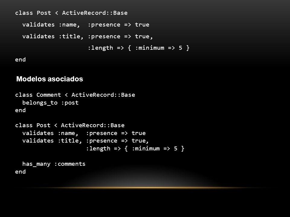 Modelos asociados class Post < ActiveRecord::Base