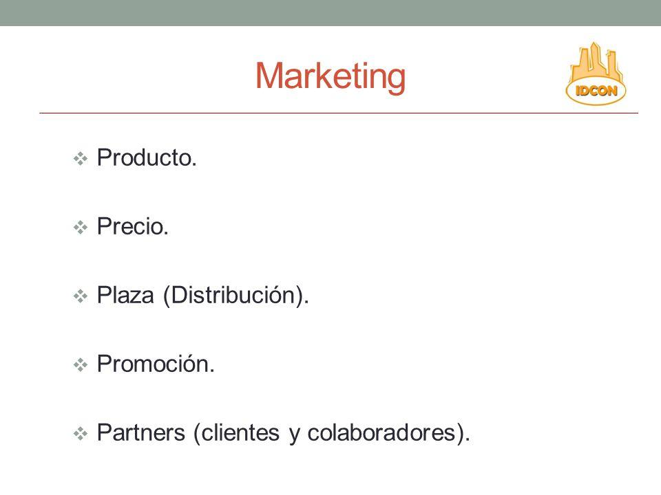 Marketing Producto. Precio. Plaza (Distribución). Promoción.