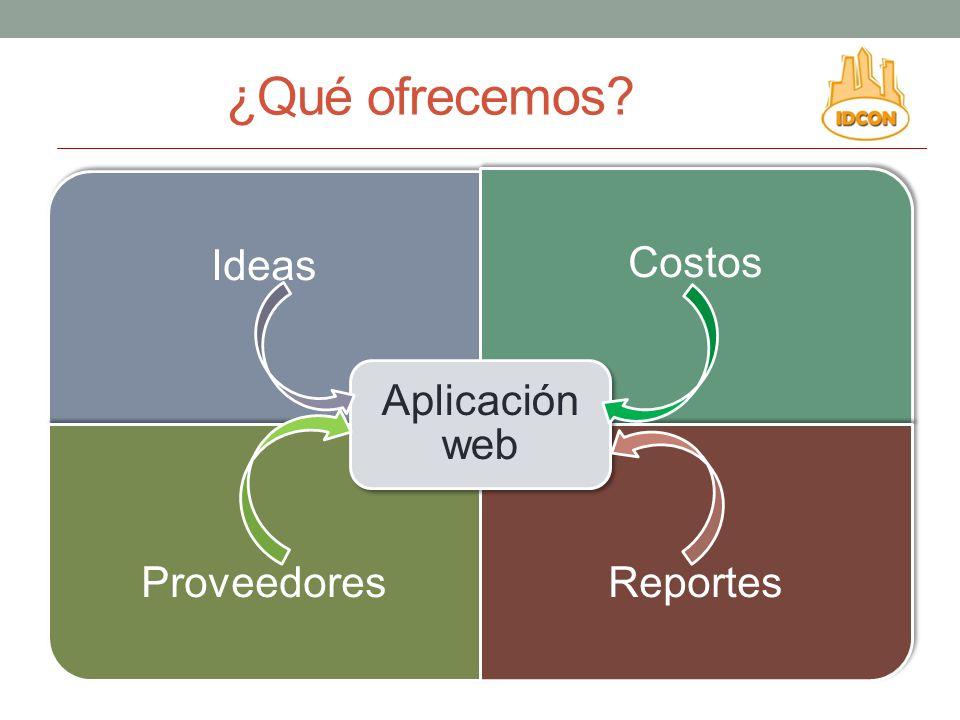 ¿Qué ofrecemos Aplicación web Ideas Costos Proveedores Reportes