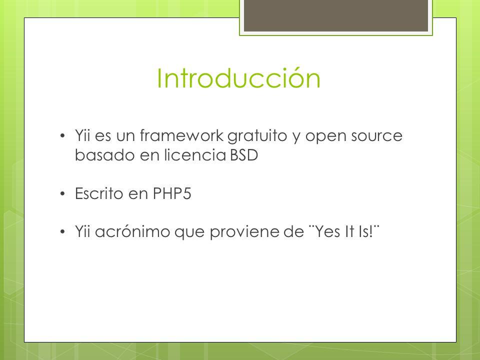 Introducción Yii es un framework gratuito y open source basado en licencia BSD.