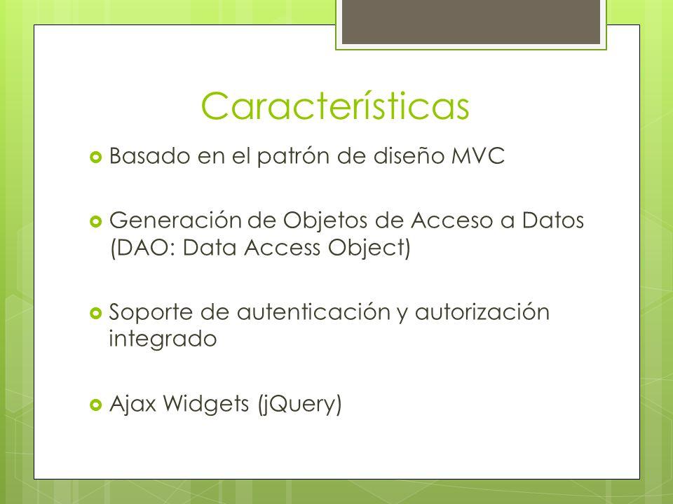 Características Basado en el patrón de diseño MVC