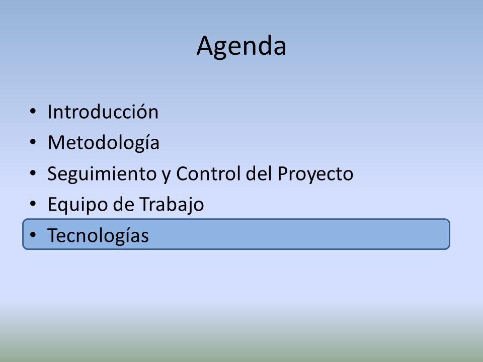 Agenda Introducción Metodología Seguimiento y Control del Proyecto