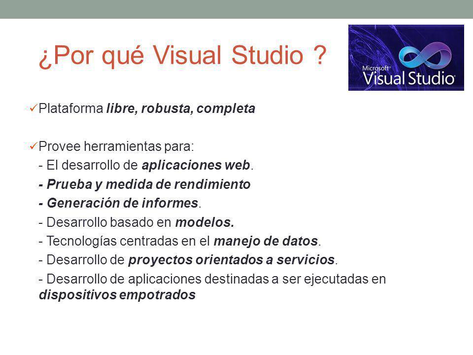 ¿Por qué Visual Studio Plataforma libre, robusta, completa