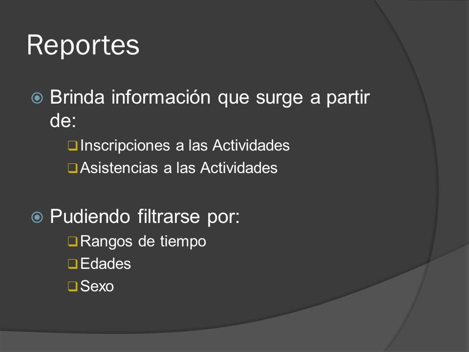 Reportes Brinda información que surge a partir de: