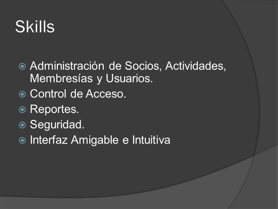 Skills Administración de Socios, Actividades, Membresías y Usuarios.