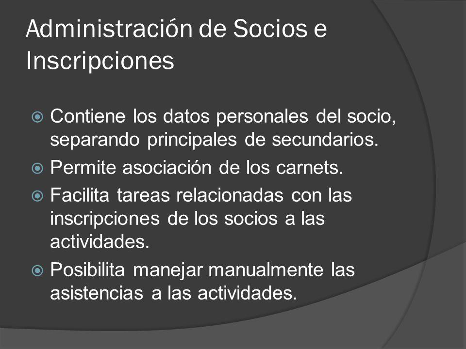 Administración de Socios e Inscripciones