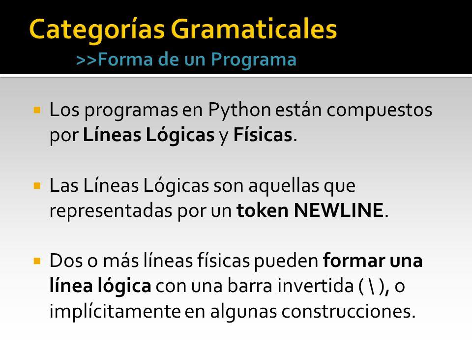 Categorías Gramaticales >>Forma de un Programa